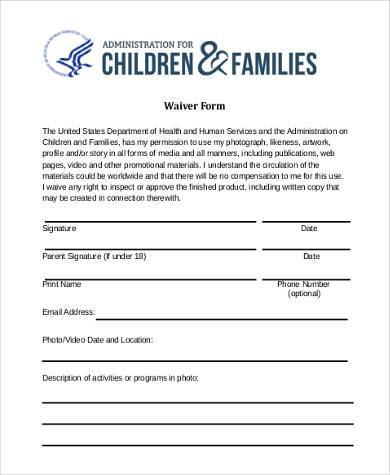 generic waiver form in pdf