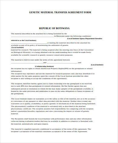 genetic material transfer agreement form