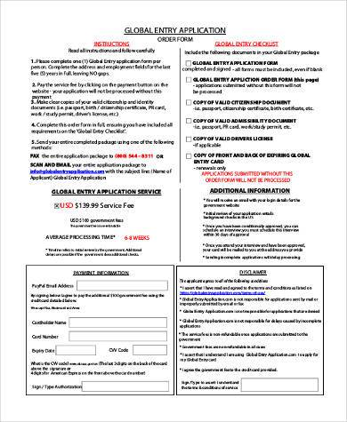Sample Global Entry Application Forms - 7+ Free Documents in Word, PDF