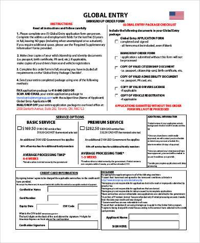 global entry paper application form