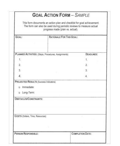 Sample Goal Action Forms - 7+ Free Documents In Word, Pdf