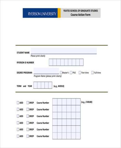 graduate course action form
