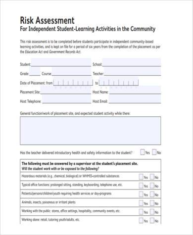 graduate student risk assessment form