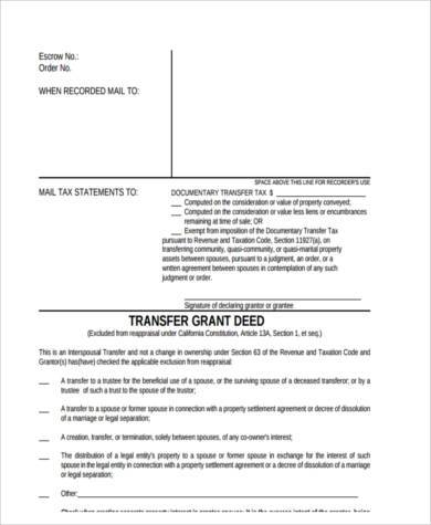 Grant Deed Form | Deed Transfer Sample Forms 8 Free Documents In Word Pdf