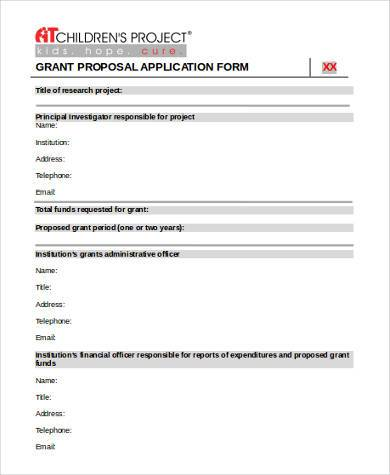 grant proposal application form