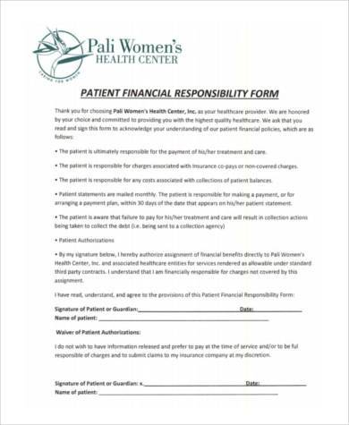guardian financial responsibility form