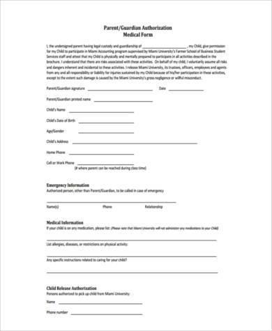 guardian medical permission form