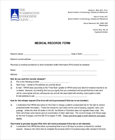 Sample Medical Records Request Form - 9+ Free Documents in PDF