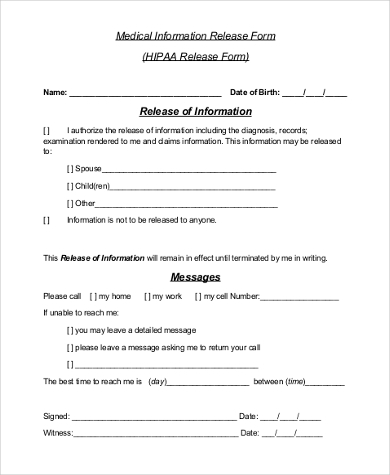 Sample Medical Release Form Release Of Information Form Template