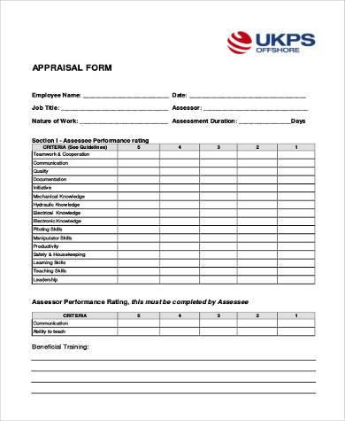 hr appraisal form in pdf