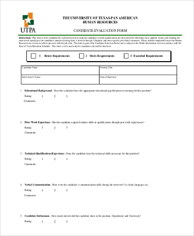 hr candidate evaluation form