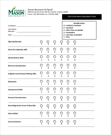 Sample HR Interview Evaluation Form