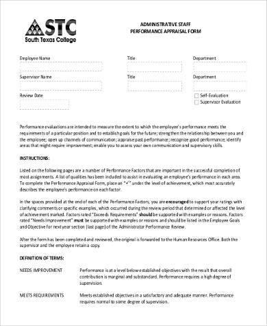 hr staff appraisal form