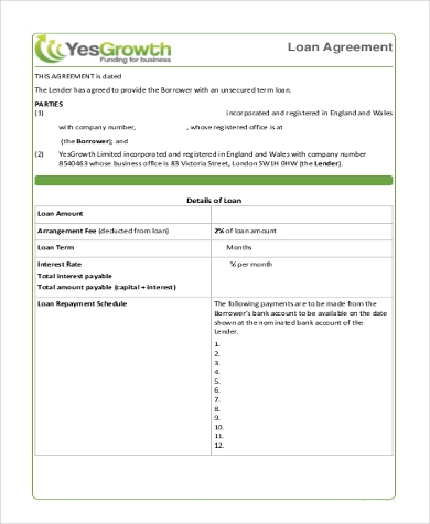 Sample Loan Agreement Form 8 Free Documents in Word PDF