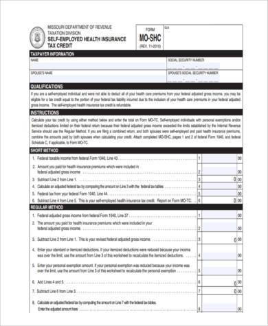 health care credit tax form