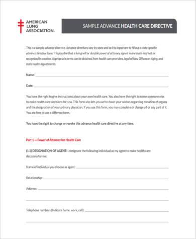 Sample Health Care Directive Forms   Free Documents In Word Pdf