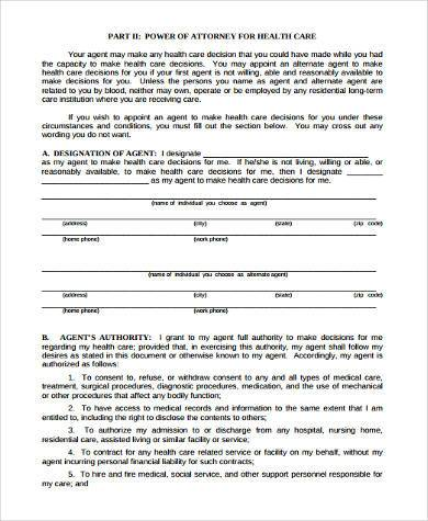 Free 8 Sample Health Care Directive Forms In Pdf Word