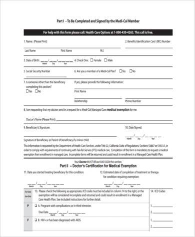 health care exemption form in pdf