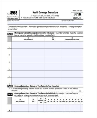 health care exemption tax form