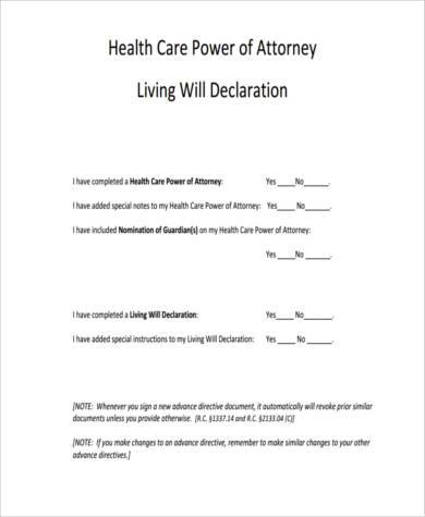 Health Care Power Of Attorney Form Samples - 7+ Free Documents In