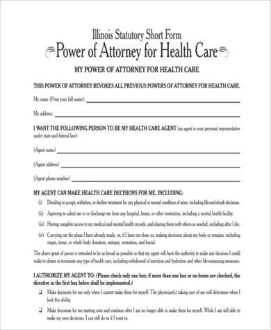 health care power of attorney form in pdf