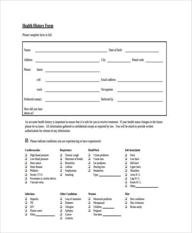 health history information form