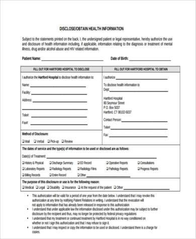 health information disclosure form