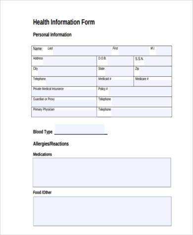 health information form in pdf