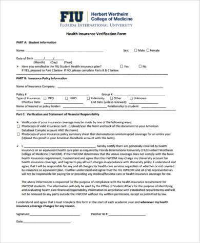 health insurance verification form