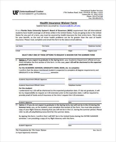 health insurance waiver form