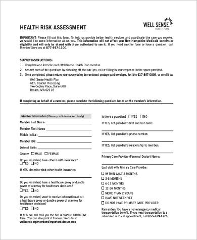 health risk assessment form1