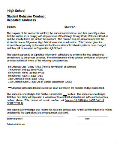 high school student behavior contract