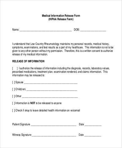 Release Of Medical Information Form Medical Information Release