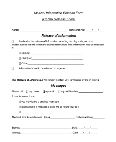hipaa medical release form