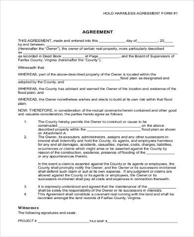 Hold Harmless Agreement Form Sample   Free Documents In Word Pdf