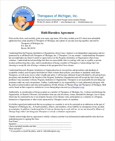 hold harmless agreement format