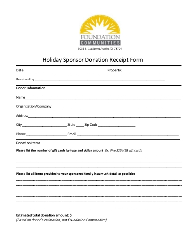 holiday sponsor donation receipt form