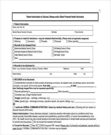 hospital release form example