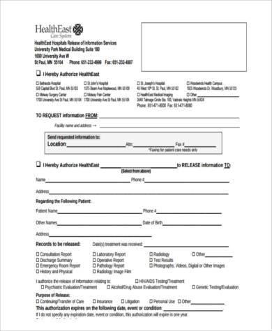 Sample Hospital Release Forms   Free Documents In Word Pdf
