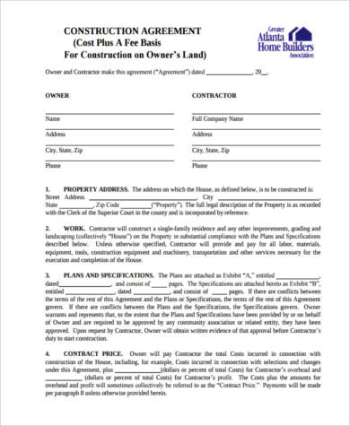 house construction contract form