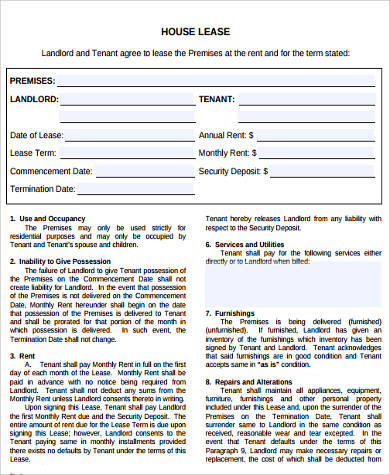 Sample Lease Contract Forms   Free Documents In Word Pdf