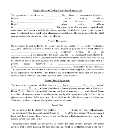 house rental agreement application