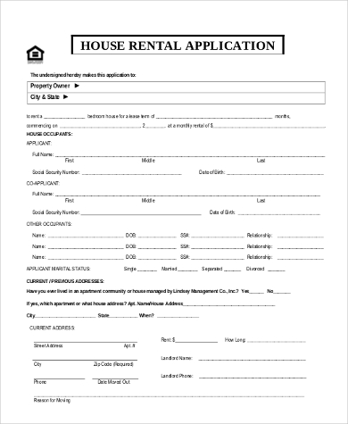 Sample House Rental Application   Free Documents In Word Pdf
