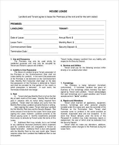 house rental lease form