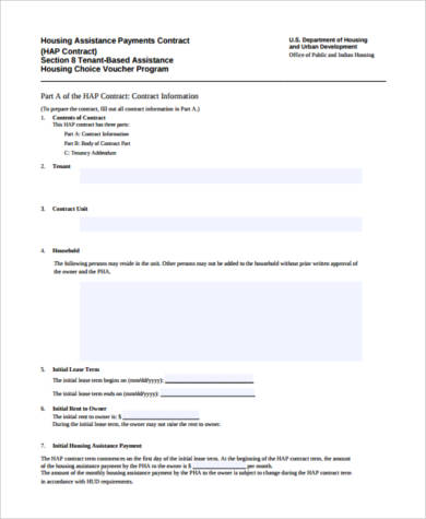 housing assistance payments contract form