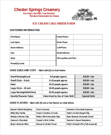 ice cream cake order form