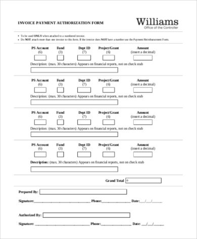 invoice payment authorization form