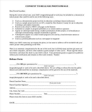 image consent release form
