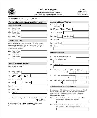 immigration affidavit of support form