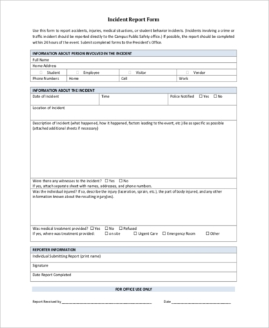 incident report sample letter pdf